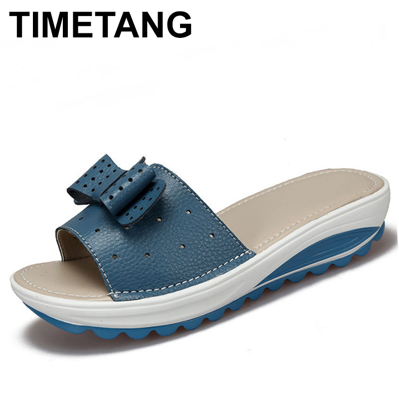 TIMETANG Women's Sandals Genuine Leather Women Flats Shoes Platform Wedges Female Slides Beach Flip Flops Summer Shoe C258 women sandals 2017 summer shoes woman flips flops wedges fashion gladiator fringe platform female slides ladies casual shoes
