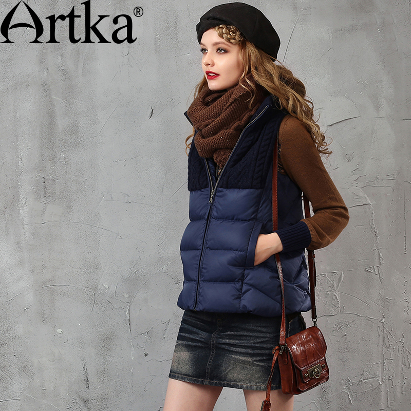 ARTKA Women s Autumn Winter New 3 Colors Patchwork Down Vest Vintage Stand Collar Comfy All