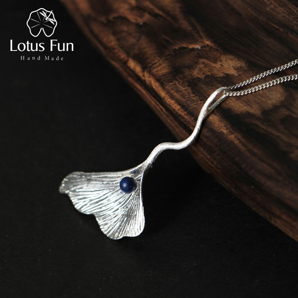Real 925 Sterling Silver Natural Lapis Handmade Fine Jewelry Ginkgo Leaf Pendant without Chain Acessorios for Women