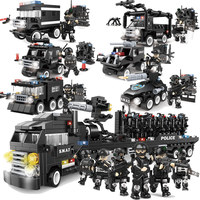 Military Series Police Building Blocks Kids Assembling Urban Weapons Aircraft Car Boat Dolls Boy Toy Compatible