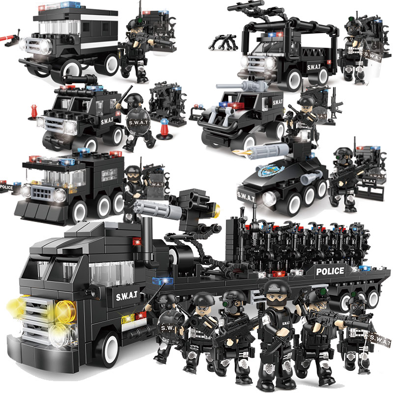 Military Series Police Building Blocks Kids Assembling Urban Weapons Aircraft Car Boat Dolls Boy Toy Compatible Legoe pvc building blocks army field combat military escort weapons