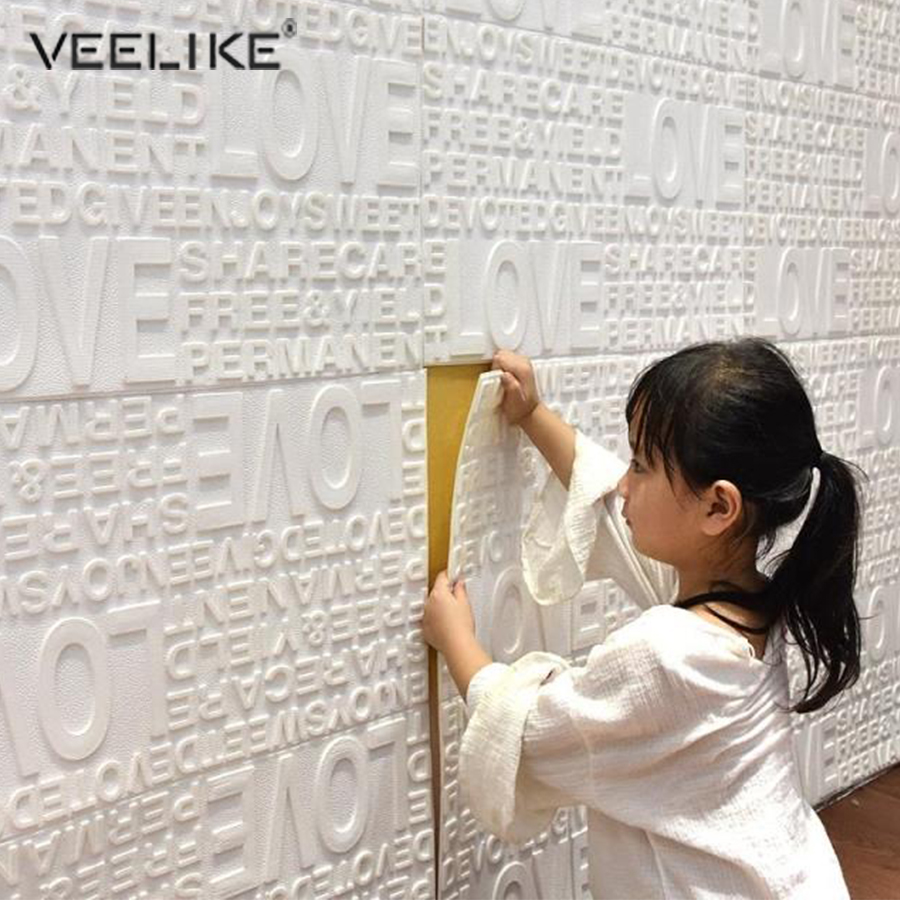 Waterproof PE Form English Letter Pattern Living Room TV Background Self Adhesive Wallpaper Home Decor 3D Wall Stickers For Kids