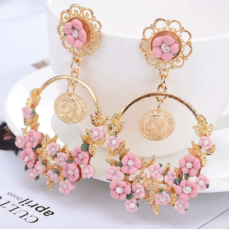 SHUANGR <font><b>Trendy</b></font> <font><b>Cute</b></font> <font><b>Pink</b></font> Yellow <font><b>Flower</b></font> <font><b>Earrings</b></font> <font><b>For</b></font> <font><b>Women</b></font> Girls Jewelry Female Rhinestone Gold Metal Round Circle Stud <font><b>Earrings</b></font> image
