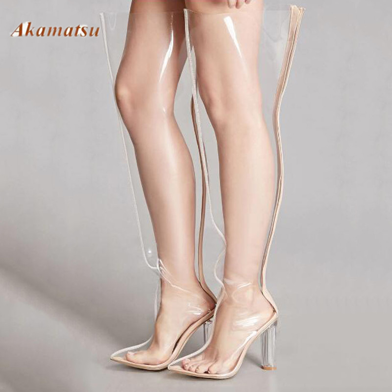 Clear PVC Pointed Toe Thigh High Women Zipper Boots Transparent Fashion Lucency Long Boots Crystal High Heels Sexy Women Shoes