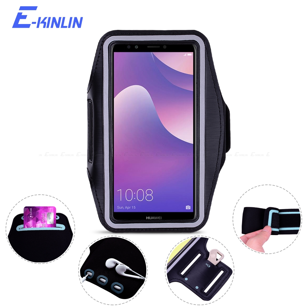 Arm Band Cover Phone Case For HuaWei Y7 Y5 Y3 Y6 Y9 III II Compact Lite Pro Prime 2017 2018 2019 Sport Running Gym holder Bag