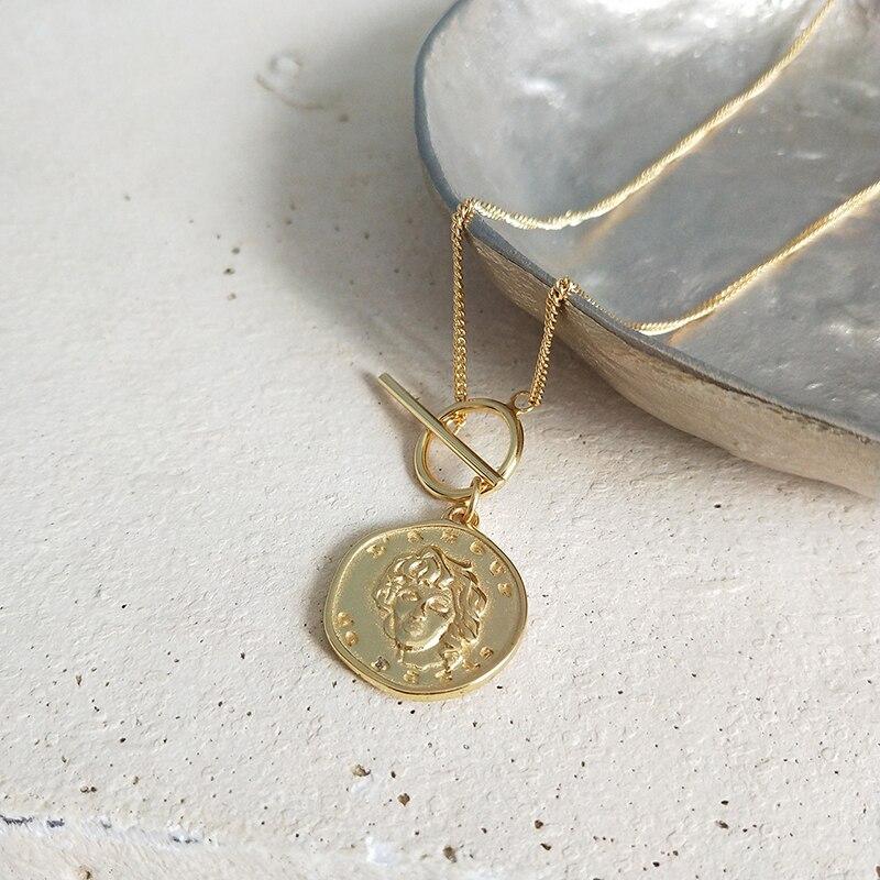 Perisbox Chic Gold Farbe Portrait Münze Anhänger Halsketten 925