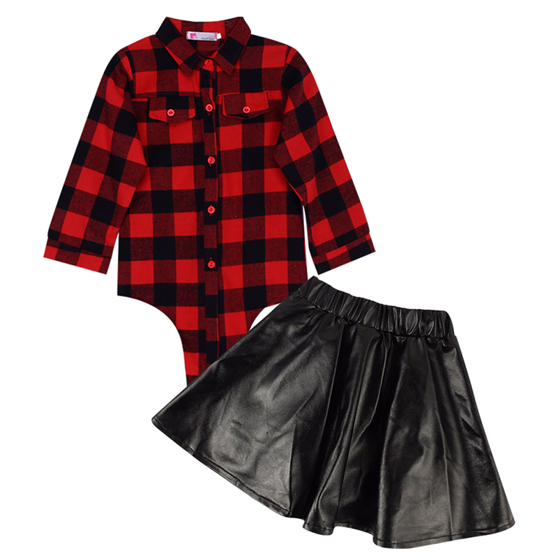 Autumn Winter Kids Girls Clothing Set Plaid Long Sleeve T-shirt Tops+Leather Skirt Dress 2pcs Toddler Baby Child Outfits Set 2pcs children outfit clothes kids baby girl off shoulder cotton ruffled sleeve tops striped t shirt blue denim jeans sunsuit set