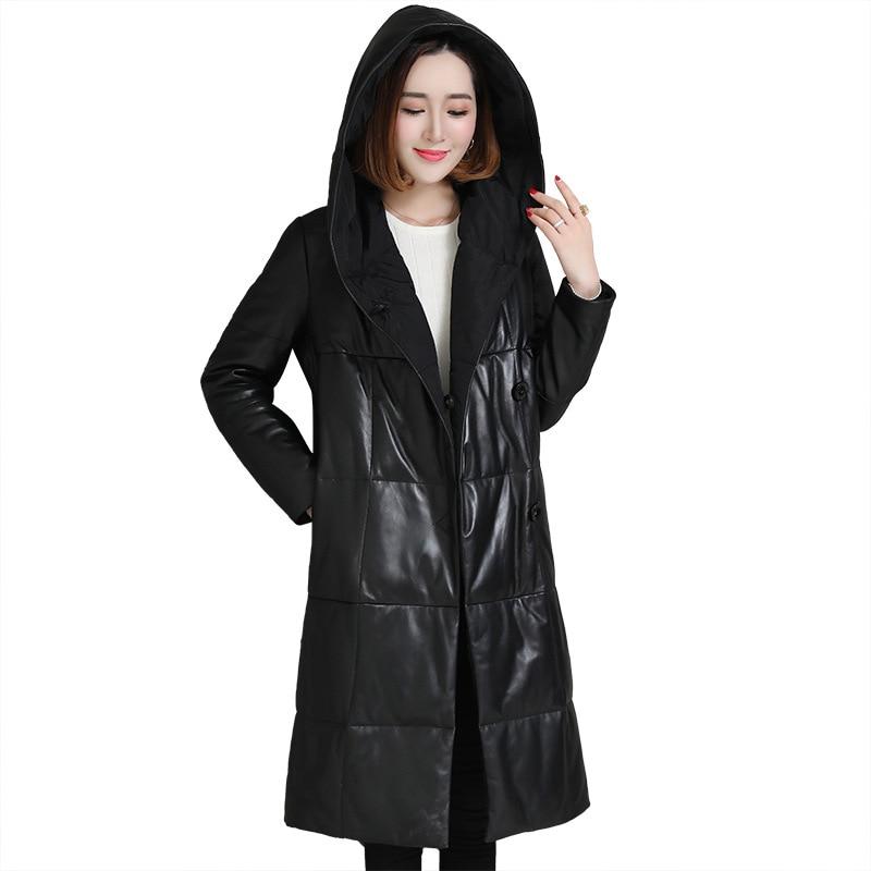 Luxury Genuine Sheepskin Leather Suede Down Parkas Coat Jacket With Hoody Winter Women Outerwear X-Long Coats LF9022