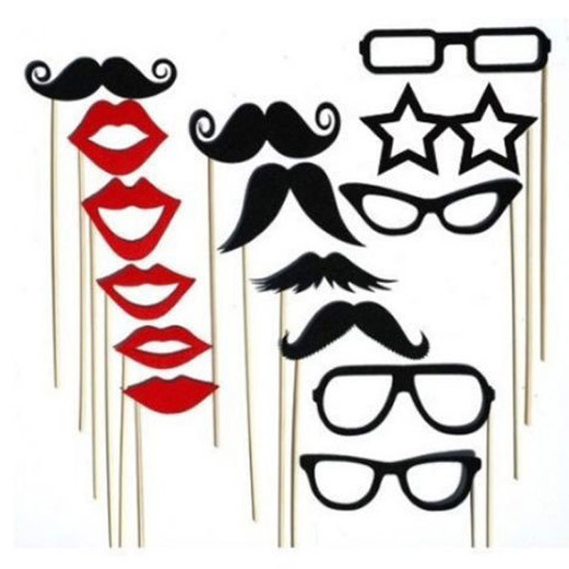 15 Pcs Funny Glasses Black Mustache Red Lips Paper Mask Wedding Supplies Bachelor Party Take Photo Props Birthday Party Decor