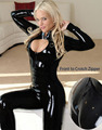 Wet-Look Hot Sale Sexy Catsuit PVC Bodysuit With Two Way Zip Through Crotch Patent Leather Mistress Costume(Not Latex )