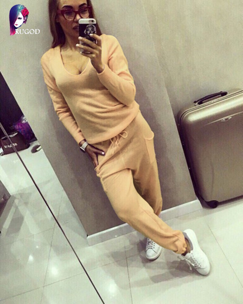 17 Hot 2 Pieces Set Women V-Neck Sexy Knitted two pieces sets Spring Suits Tracksuit Sweater top+ Pants Set Womens Casual Suit 5