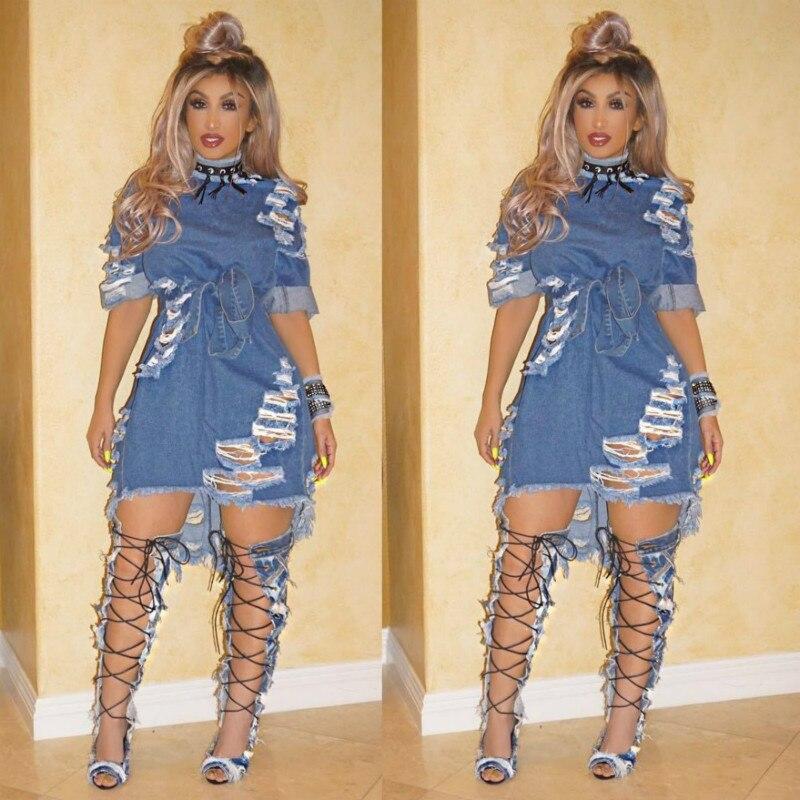Hot Fashion Elegant Style 2020 Summer Bandage Dress Women Short Denim Dress Sexy Casual Bodycon Plus Size Gothic Dress