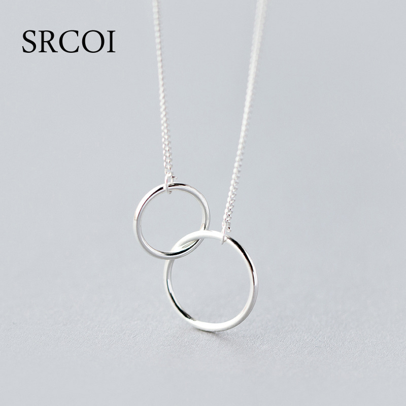 Casual Double Circle Necklace 925 Sterling Silver Necklace Accesorios Mujer Initial Eternity Interlocking Hoop Infinity Pendant tardoo crossed double circle necklace 925 silver simple double circle gold necklace women fine jewelry hoop pendant necklace