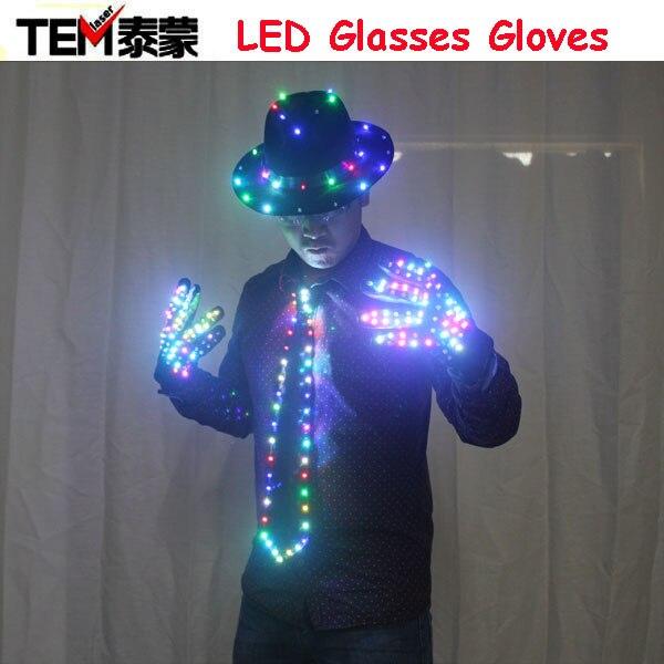 Светодио дный одежда светящаяся одежда шляпа светодио дный светодиодные перчатки талант шоу светящийся галстук костюмы Бальные механичес...
