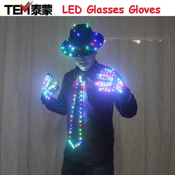 LED Clothing Glowing Clothes Hat Fashion LED Gloves Talent Show Luminous Tie Suits Ballroom Mechanical Dance Dress Accessories