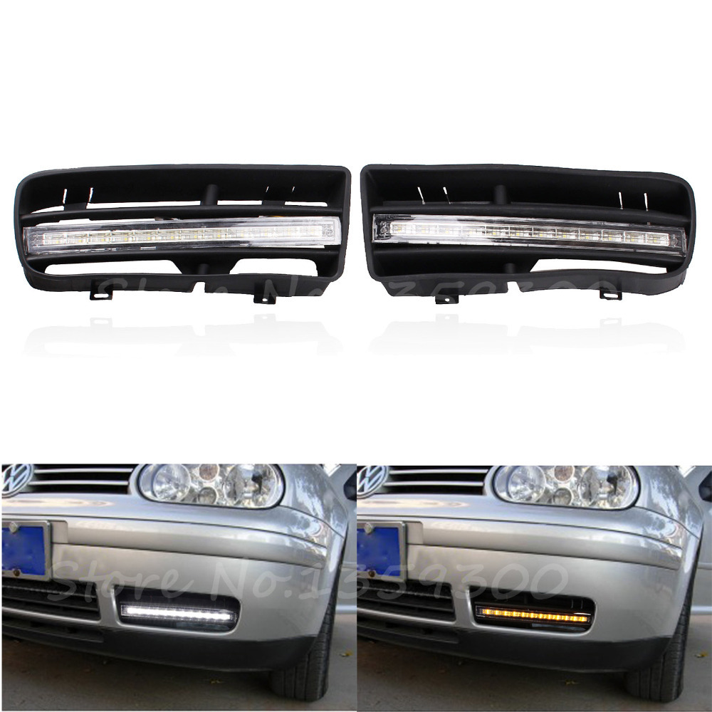 Free Shipping 1 Pair LED DRL Daytime Running Turn Signal Lights With Grilles For VW Golf MK4 1998-2003 White & Amber Light free shipping bumper grille grill drl running driving led fog lamp lights for 97 06 vw golf mk4