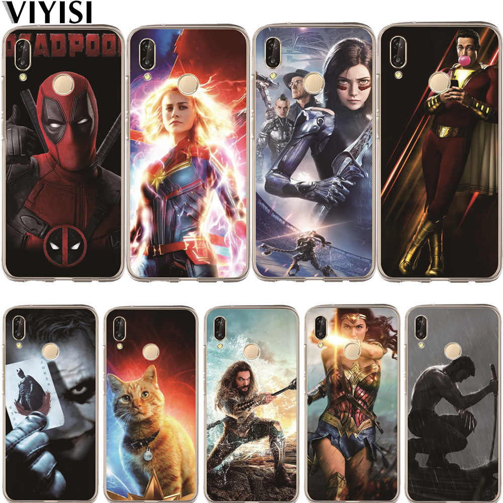 Luxury Captain Marvel DC Joker Shazam Cat Phone Case For Huawei Honor 10 9 8 8X 8C 7A 7C 7X 7 6X 6A Lite P30 Silicone Coque Etui
