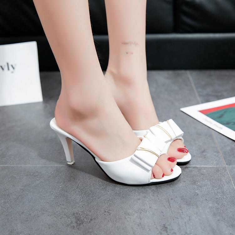 Cm Zapatillas Abierta Talón Mujeres Tacones Zapatos Ocio 5 Moda Punta 2017 Negro Diario Mujer Calzado Alto 8 Bowtie Plataforma Del Sandalias blanco dAHxYYqzn