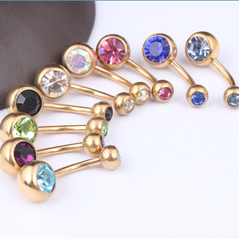 Hot 1 Pc Unisex Charm Punk Golden Crystal Rhinestones Navel Belly Button Rings Body Piercing Jewelry
