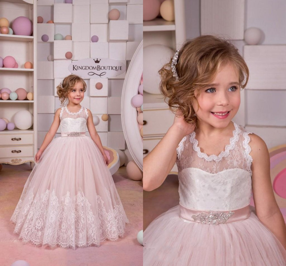 New Princess Puffy First Communion Dress with Belt 2017 Flower Girls Dresses for Wedding Lace Tulle White Ivory Pink Custom new hot pretty ivory or white appliques tulle beads sash flower girl dresses with train white girls first communion dresses