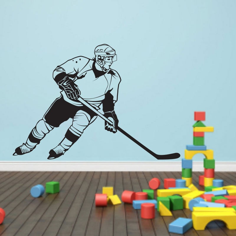 New arrival diy wall stickers Removable Sports Hockey Player NHL Wall Decal Vinyl Art Decor Sticker Vinyl Mural Wall Paper image