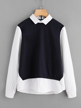 Blouse Plus Size New Women Fashion Colorblock Long Sleeve Zip Back Casual Striped Shirt Neck Office Work Tops