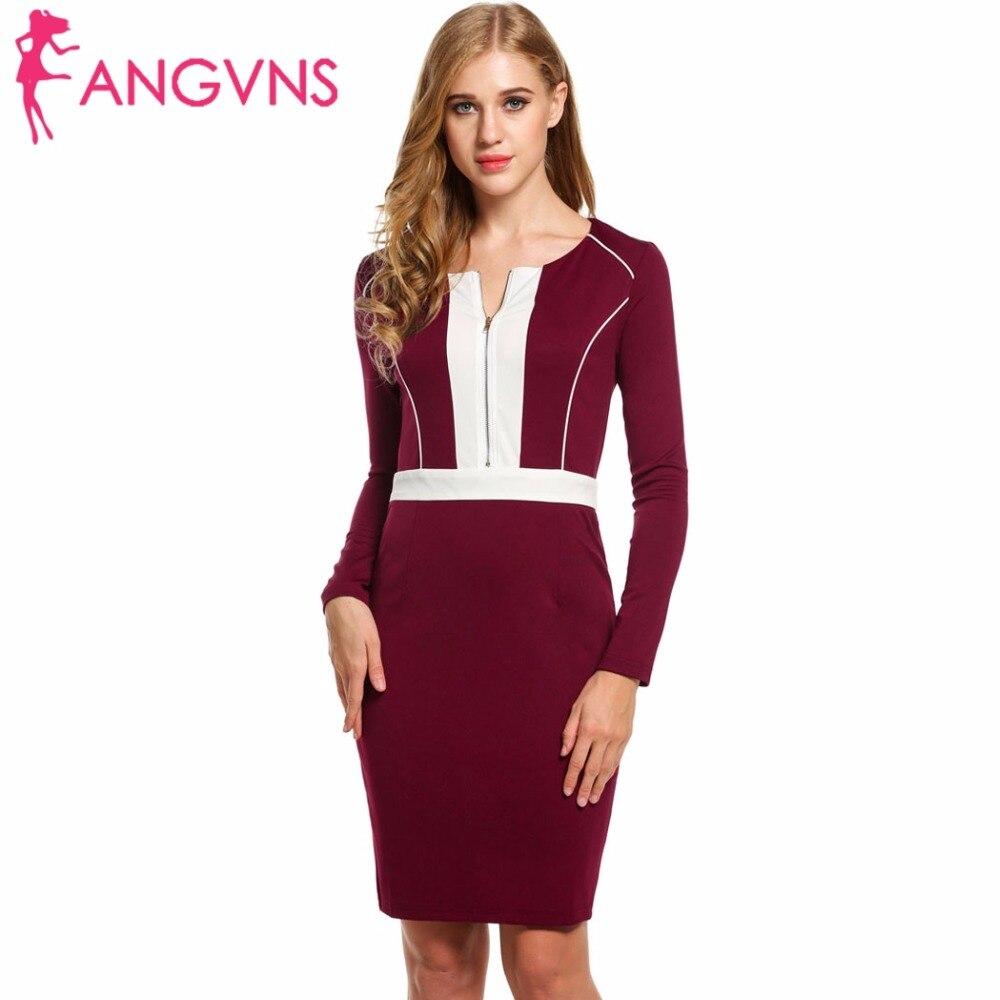 49ba88f30d3b ANGVNS Pencil Dress Bodycon Women 2017 Front Zipper Long Sleeve Bandage  Patchwork Elegant Party Vestidos Work
