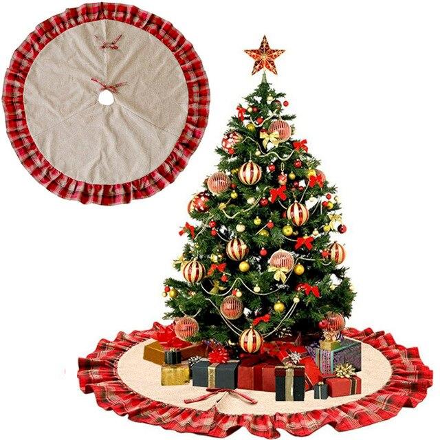 Large Christmas Ornaments.Us 11 28 48inch Large Christmas Tree Skirt Red Plaid Ruffle Edge Xmas Burlap Tree Skirt For Christmas Ornaments Party Decoration Navidad In Tree