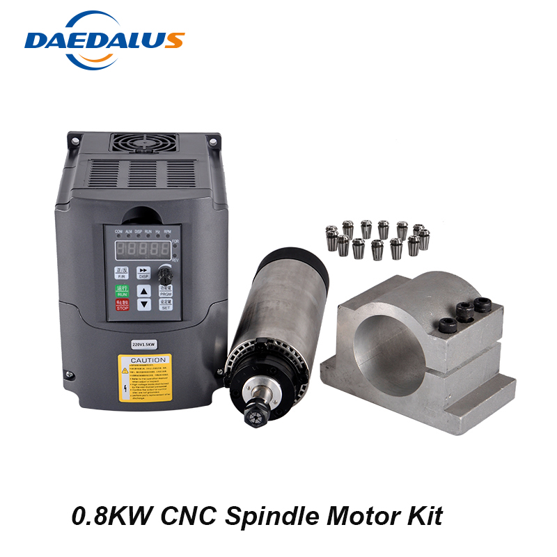 CNC Router Spindle 800W Air Cooled Spindle Kit 0.8KW Milling Motor + 1.5KW 220V Inverter Converter 65mm Clamp 13pcs ER11 Collet water cooling spindle sets 1pcs 0 8kw er11 220v spindle motor and matching 800w inverter inverter and 65mmmount bracket clamp