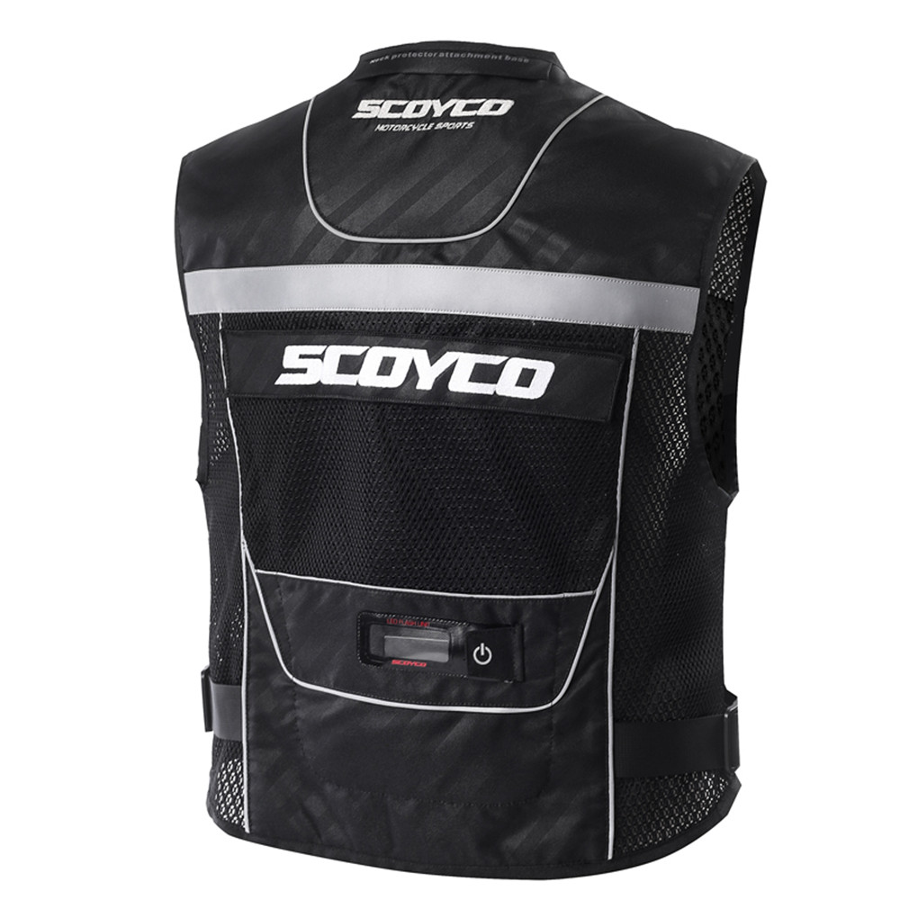 SCOYCO Reflective Safety Vests Clothing Motorcycle Reflecting Racing protective Vest Visbility Moto Security Motorbike Led Light