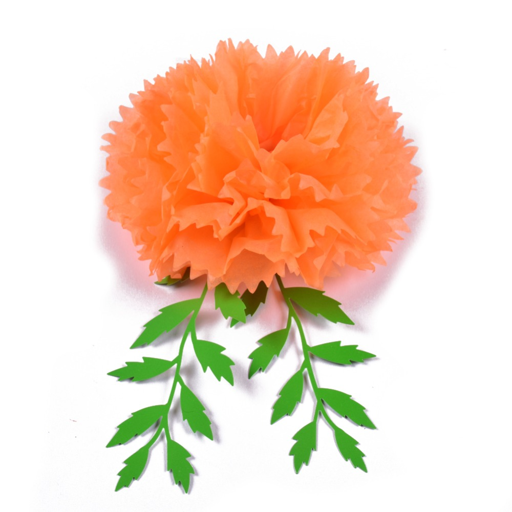 Yellow Orange Pom Poms Marigold Hanging Paper Flowers Leaves Diy