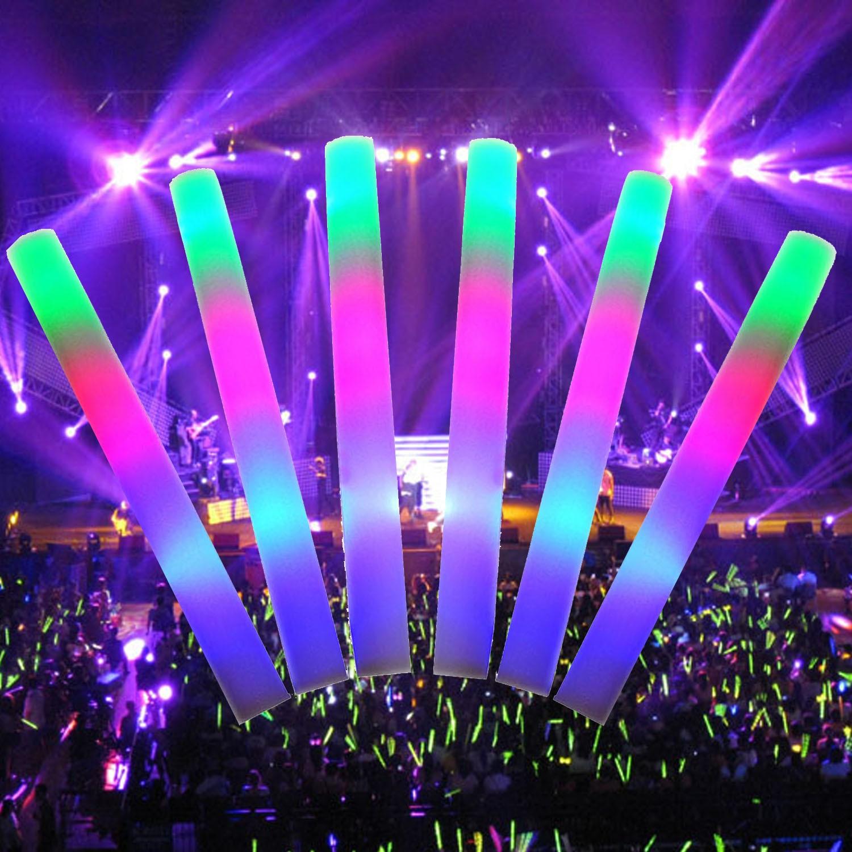 TAOS 50 Pcs LED Colorful Concert Party Club Cheer Sponge Glowsticks Glow Sticks
