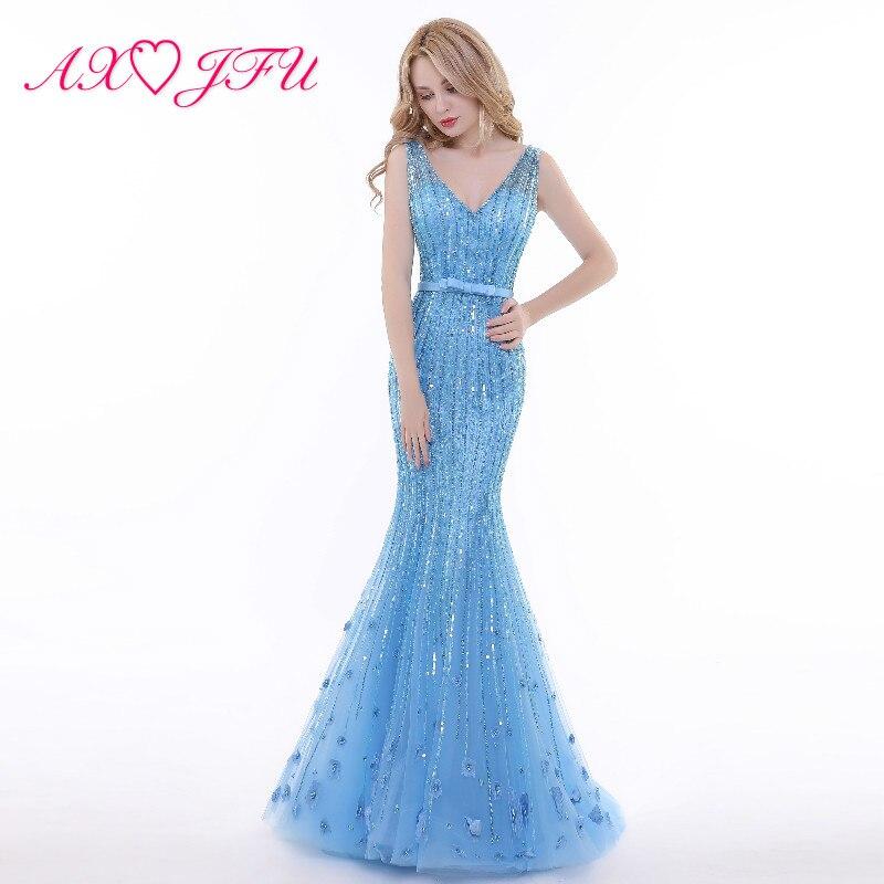 AXJFU люкс blue lace Бисероплетение sparkly принцессы Русалочки вечернее платье v шеи Иллюзия Труба вечернее платье 100% Настоящее фото 8897