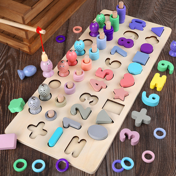 Kids Toys Montessori Materials Wooden Toys Magnetic Fishing Game Count Shape Cognition Math Toys Educational Toys For Children shark bite game funny toys desktop fishing toys kids family interactive toys board game