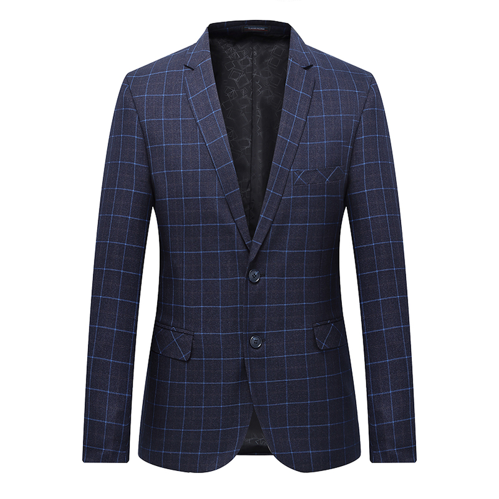 High Quality Men Blazer Fashion Plus Size Casual Male Plaid Suit Jacket 2018 Spring Autumn Long Sleeve Business Suit Coats 7XL-L