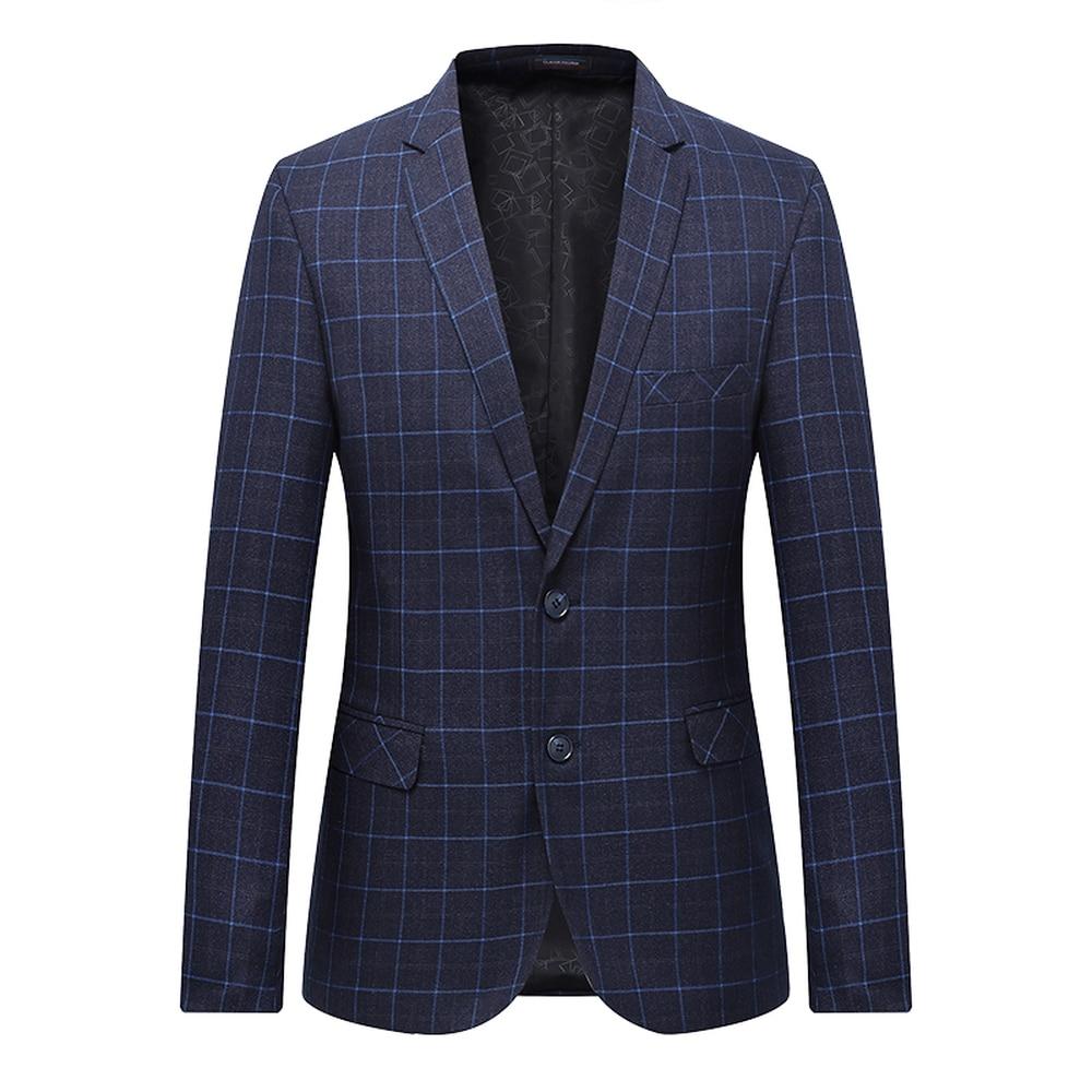High Quality Men Blazer Fashion Plus Size Casual Male Plaid Suit Jacket 2018 Spring Autumn Long Sleeve Business Suit Coats 7XL-L