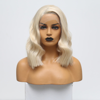 RONGDUOYI 12Inch Blonde High Temperature Fiber Hair Synthetic Wigs for Women Short Wavy Heat Resistant Lace Front Wig Side Part