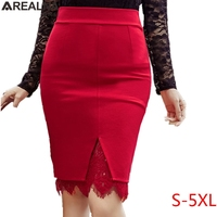 AREALNA2017 Autumn Skirts Womens High Waist Sexy Lace Pencil Skirt Open Slit Elegant Office Bodycon Tight