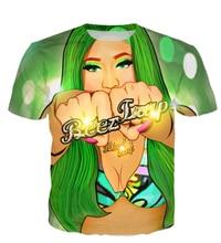 Women Men 3D Character Crewneck T-Shirt Nicki Minaj Beez In Da Trap t shirt Summer Style Sexy tees  Tops