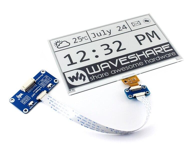 Waveshare 640x384 7,5 дюйма E Ink HAT e paper дисплей поддерживает Raspberry Pi Arduino STM32 Двухцветный Ультра низкое энергопотребление