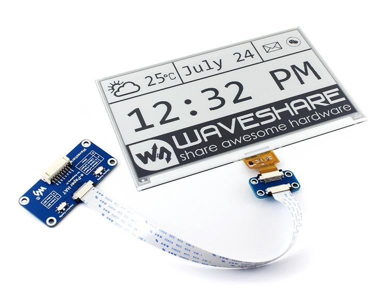 Waveshare 640x384 7.5 pouces e-ink HAT e-paper display prend en charge la framboise Pi Arduino STM32 bicolore Ultra faible consommation d'énergie