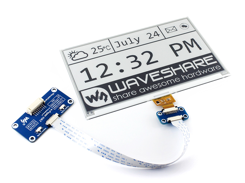 Waveshare 640x384 7.5inch E-Ink HAT e-paper display supports Raspberry Pi Arduino STM32 Two-color Ultra low power consumption waveshare li ion battery hat for raspberry pi 5v regulated output bi directional quick charge integrates sw6106 power bank chip