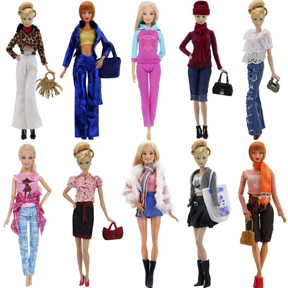 High Quality Outfit Mixed Style Elegant Blouse Casual Wear Girls Suit Trousers Handbag Shoes Clothes For Barbie Doll Accessories