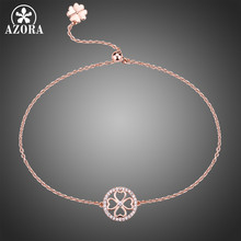 AZORA Small Rose Gold Color Round Flower Adjustable Slide Chain Bracelet Clear Zirconia Bracelet for Lady Charm Present TS0198(China)