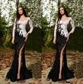 Mejor 2015 rami salamoun alta hendidura sexy negro y blanco de encaje Vestidos de Baile Vestidos de Baile Vestido de Noche Vestido de Noche