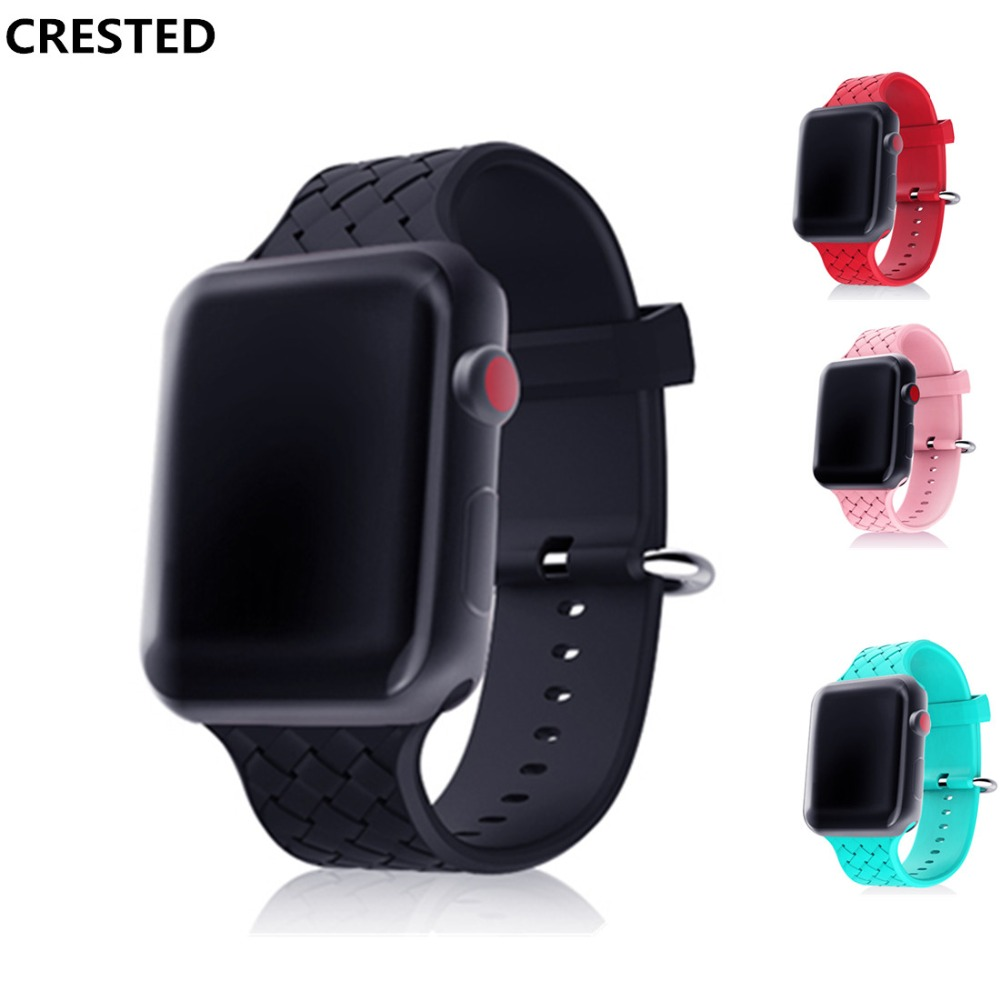 CRESTED silicone sport strap For Apple Watch band 42mm/38mm woven iwatch series 3 2 1 wrist bands bracelet belt weave watchband crested crazy horse strap for apple watch band 42mm 38mm iwatch series 3 2 1 leather straps wrist bands watchband bracelet belt