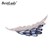 Best lady Fashion Feather Shaped Brooches Clips Pins Up Wedding Statement Scarf Buckle Maxi Luxury Brooches Jewelry Wholesale