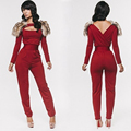 2016 Women Autumn  Winter Long Sleeve Jumpsuits Fashion Casual Sexy Hollow Out Red Full Length Rompers Womens Jumpsuit with fur