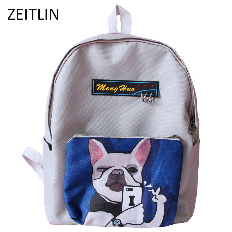 ZEITLIN New female tidal fun cartoon printing backpack college students high capacity leisure bags male Travel bag Mochila S232