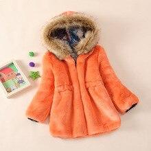 2015  New Girls Coats And Jackets Faux Fur  Coat  Long Section Of Children's   Coat Rabbit Fur Coat Fur Imitation  156
